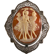 Three Graces Cameo Carved Shell Sterling Filigree Brooch