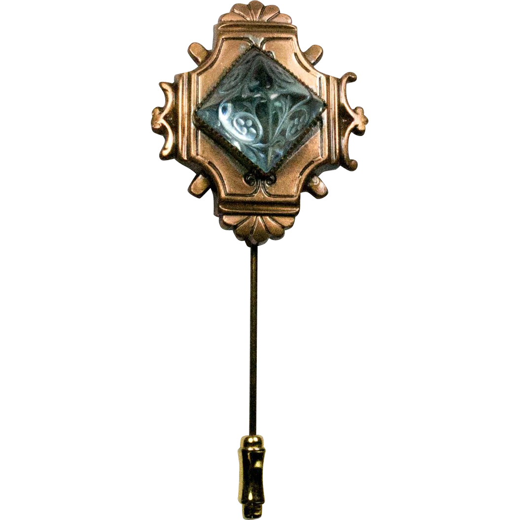 Czech carved poured glass and metal stickpin from