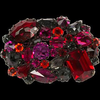 Rhapsody in Red Czech Rhinestone Brooch Pin