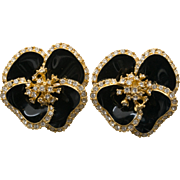 CINER Flower Earrings Black Enamel Rhinestone Clip