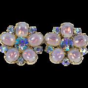 Vintage Coro Pale Lavender Cabochon and Aurora Borealis Rhinestone Clip Earrings