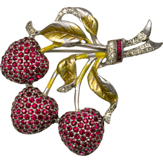 DUJAY Red Pave Rhinestones and Enamel Cherries Brooch Pin Figural
