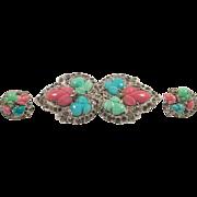 1935 KTF Trifari Fruit Salad Pin and Earrings