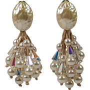 Faux Pearl Earrings with Faux Pearl and Clear AB Crystal Dangles