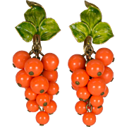 Orange Bead Clusters with Green Enamel Leaves Clip On Earrings