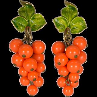 Orange Bead Clusters with Green Enamel Leaves Clip On Earrings