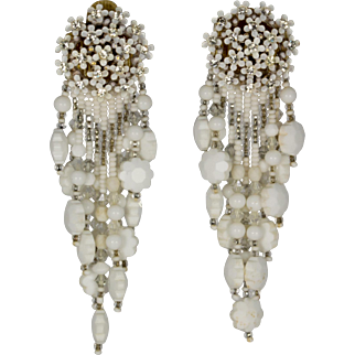 Tiny White Flowers Clip Earrings with Rhinestone Centers and White Dangling Beads