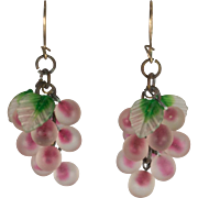 Tiny Translucent Etched Art Glass Grape-like Clusters of Beads with Red Centers and Green and Clear Leaves Pierced Earrings