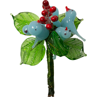Blue Glass Birds Leaves and Red Berries Brooch Pin