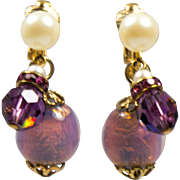 Vintage Venetian Lavender and Gold Foil Glass Bead, Purple Crystals and Faux Pearl Clip Earrings
