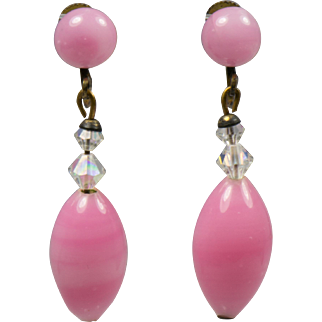 Vintage Pink Screw Type Earrings with Crystals and Oval Drop