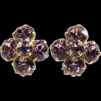 Vintage Lavender Rhinestone Floral Clip Earrings