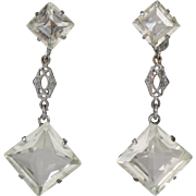 Vintage Clear Crystal Filigree Drop Earrings Screw Back