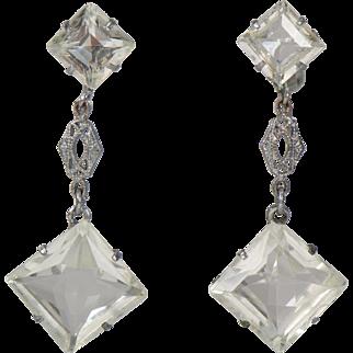 Vintage Clear Crystal Filigree Drop Earrings Screw Back