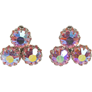 Pink Aurora Borealis Rhinestone Clip Earrings