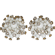 Vintage Rhinestone Pin Set White Glass Bead Clip Earrings