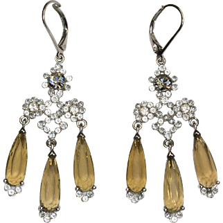 Vintage Stunning Long Smoky Topaz and Clear Rhinestone Earrings Pierced