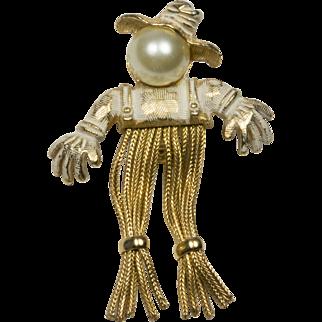 Vintage Protective Benevolent Scarecrow Brooch Pin