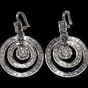 Rhinestone Dangling Sparkling Circles Pierced Earrings Hoops