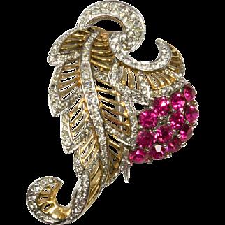 Vintage Pink and Pave Rhinestones Flower and Leaf Fur Clip