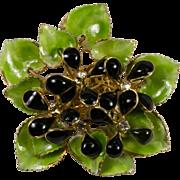 Hattie Carnegie Poured Glass Violets Bouquet Brooch Pin