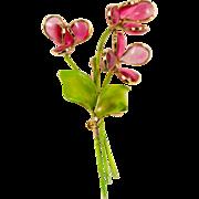 Hattie Carnegie Poured Glass Flower Brooch Pin