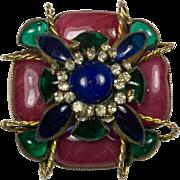 Hattie Carnegie Poured Glass Brooch Pin