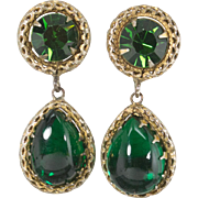 Emerald Green Rhinestone and Cabochan Clip Earrings