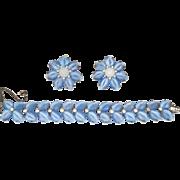 Jomaz Blue Molded Glass Leaf Rhinestone Bracelet and Flower Earrings