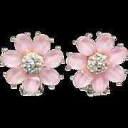 Kramer Pink Flower Clip Earrings with Aurora Borealis Center