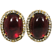 KJL Kenneth Jay Lane Poured Glass Cabochon Clip Earrings