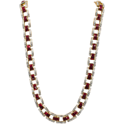 Invisibly Set Ruby Red and Clear Rhinestone Necklace