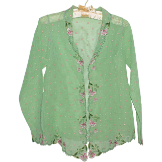 Embroidered Blouse Green with Pink and White Flowers Small