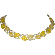 Vintage Lisner Yellow Molded Leaf and Rhinestone Necklace