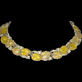 Vintage Lisner Yellow Molded Leaf and Rhinestone Necklace