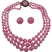 Louis Rousselet Made in France Pink Glass Necklace and Clip Earrings