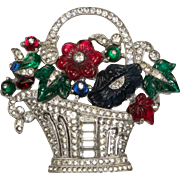 MAZER Flower Basket Fruit Salad Glass Rhinestone Brooch Pin