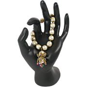 Miriam Haskell Faux Pearl Dangle Bracelet Decorated with Rhinestones