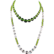 Brilliant Green, Aurora Borealis, and Clear Pressed Glass and Crystal Necklaces