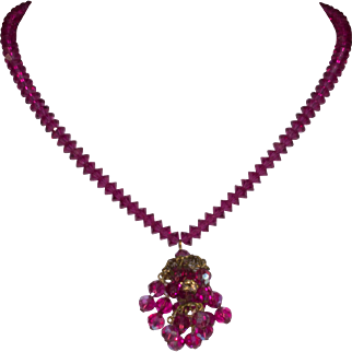 Vintage Fuchsia Pink Crystal Necklace
