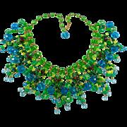 Vintage Blue Green Crystal Art Glass Bead Fringe Bib Necklace