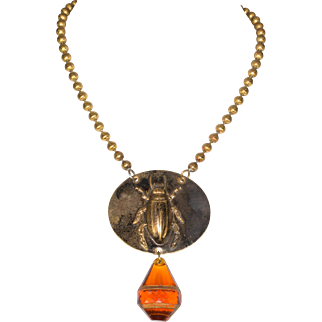 Vintage Signed Copper Beetle Pendant Necklace with Amber Glass Drop
