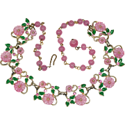 Vintage Pink Molded Glass Flower Green Enamel Leaves Necklace