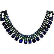 Cobalt Blue and Emerald Green Rhinestone Choker Necklace