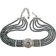 Faux Pearl Choker Necklace with Clear Rhinestones