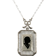Art Deco Sterling Silver Camphor Glass Enamel Silhouette Pendant Necklace