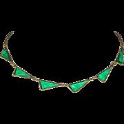 Vintage Czech Emerald Green Glass Necklace