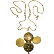 Victorian Revival Locket Necklace, Four Picture Folding