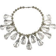 Clear Faceted Lucite and Rhinestone Balls Runway Necklace