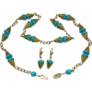 Art Deco Green Gold Enamel Turquoise Bead Sterling Necklace and Pierced Earrings
